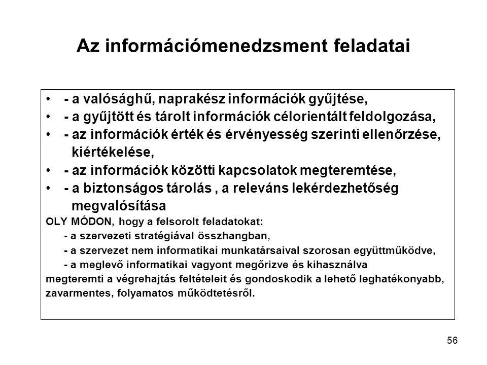 56 Az információmenedzsment feladatai - a valósághű, naprakész információk gyűjtése, - a gyűjtött és tárolt információk célorientált feldolgozása, - az információk érték és érvényesség szerinti ellenőrzése, kiértékelése, - az információk közötti kapcsolatok megteremtése, - a biztonságos tárolás, a releváns lekérdezhetőség megvalósítása OLY MÓDON, hogy a felsorolt feladatokat: - a szervezeti stratégiával összhangban, - a szervezet nem informatikai munkatársaival szorosan együttműködve, - a meglevő informatikai vagyont megőrizve és kihasználva megteremti a végrehajtás feltételeit és gondoskodik a lehető leghatékonyabb, zavarmentes, folyamatos működtetésről.