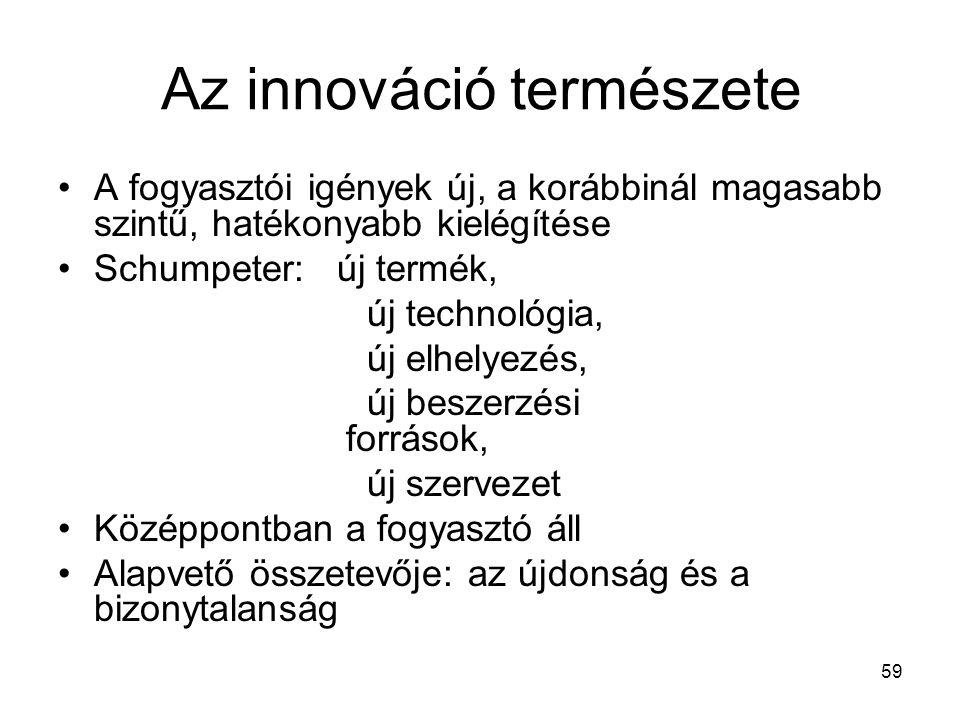 59 Az innováció természete A fogyasztói igények új, a korábbinál magasabb szintű, hatékonyabb kielégítése Schumpeter: új termék, új technológia, új elhelyezés, új beszerzési források, új szervezet Középpontban a fogyasztó áll Alapvető összetevője: az újdonság és a bizonytalanság