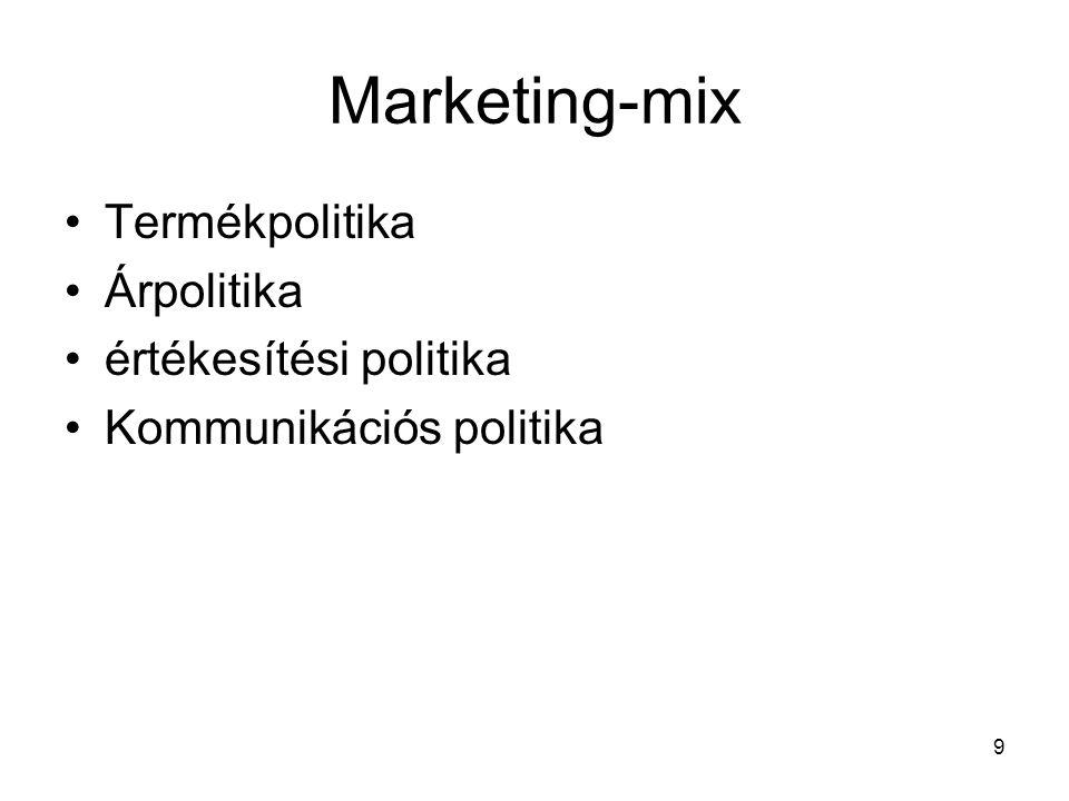 10 I.Termékpolitika A fogyasztói igények kielégítésére szolgáló termékek körének és tulajdonságainak meghatározására, valamint a fogyasztónak való bemutatására vonatkozó elvek és módszerek összessége Összetevői: a) termékszerkezet megválasztása b) termékéletciklus kezelése c) termék bemutatása