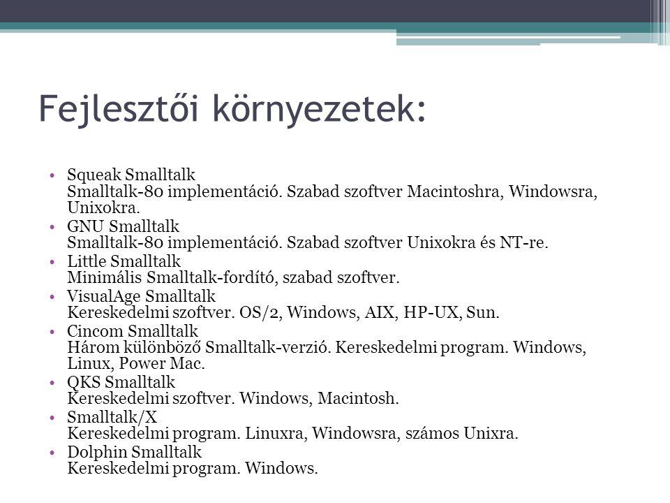 Fejlesztői környezetek: Squeak Smalltalk Smalltalk-80 implementáció. Szabad szoftver Macintoshra, Windowsra, Unixokra. GNU Smalltalk Smalltalk-80 impl