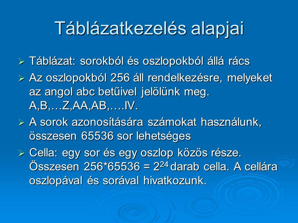 Táblázatkezelés alapjai  Táblázat: sorokból és oszlopokból állá rács  Az oszlopokból 256 áll rendelkezésre, melyeket az angol abc betűivel jelölünk