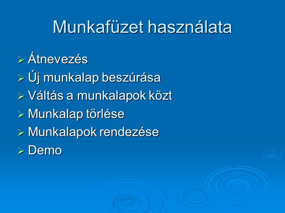 Munkafüzet használata  Átnevezés  Új munkalap beszúrása  Váltás a munkalapok közt  Munkalap törlése  Munkalapok rendezése  Demo