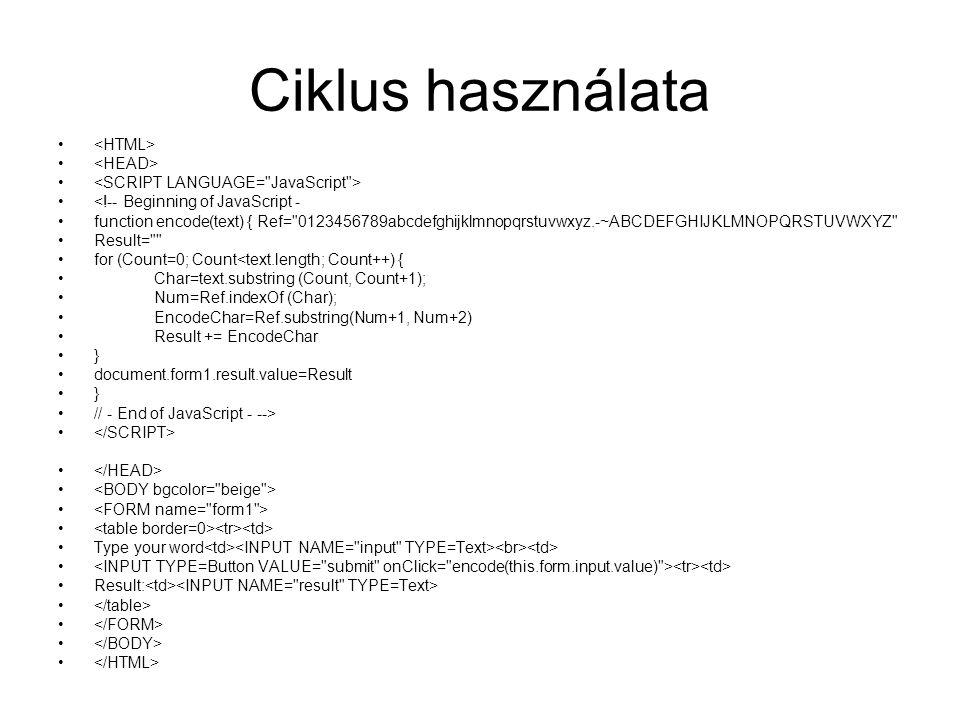 Ciklus használata <!-- Beginning of JavaScript - function encode(text) { Ref=