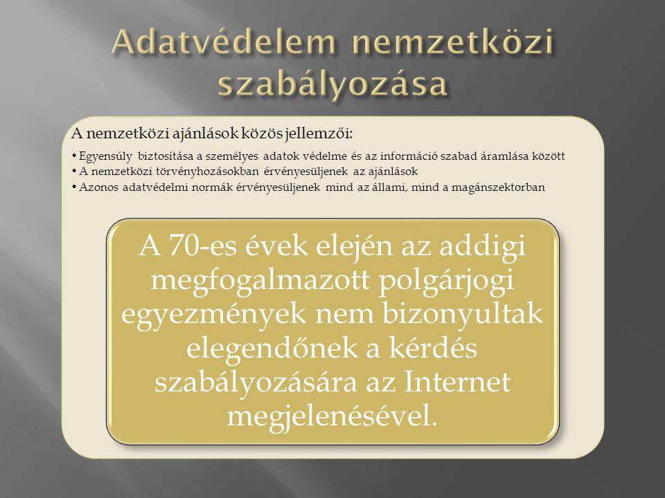  A nemzetközi ajánlások a következő alapelveket fogadták el:  Meg kell határozni az adatgyűjtés célját és azt ismertetni az adatszolgáltatóval.