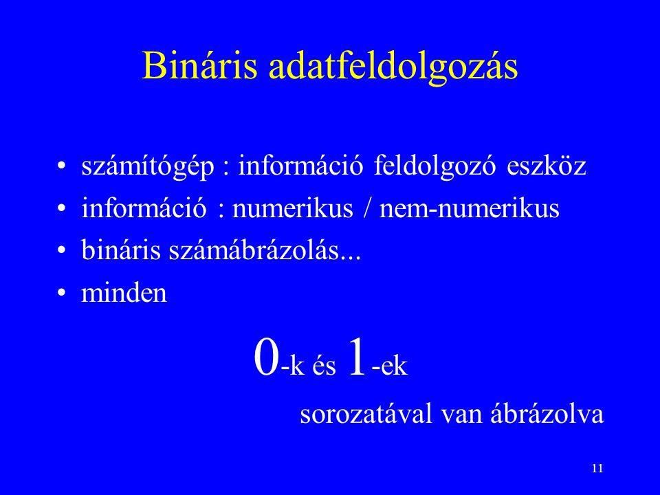 11 Bináris adatfeldolgozás számítógép : információ feldolgozó eszköz információ : numerikus / nem-numerikus bináris számábrázolás... minden 0 -k és 1