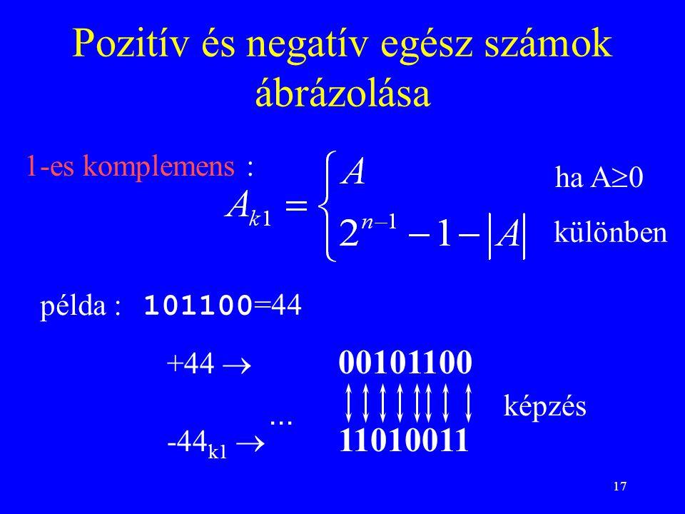 17 1-es komplemens : Pozitív és negatív egész számok ábrázolása 101100 =44 példa :... képzés különben ha A  0 +44  00101100 -44 k1  11010011