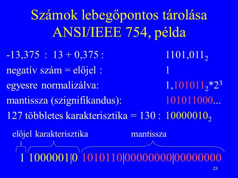 23 Számok lebegőpontos tárolása ANSI/IEEE 754, példa -13,375 : 13 + 0,375 : 1101,011 2 negatív szám = előjel : 1 egyesre normalizálva:1,101011 2 *2 3 mantissza (szignifikandus): 101011000...