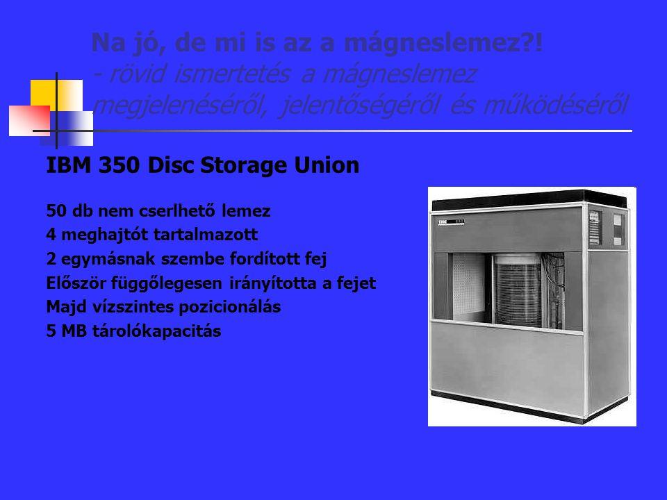 Na jó, de mi is az a mágneslemez?! - rövid ismertetés a mágneslemez megjelenéséről, jelentőségéről és működéséről IBM 350 Disc Storage Union 50 db nem