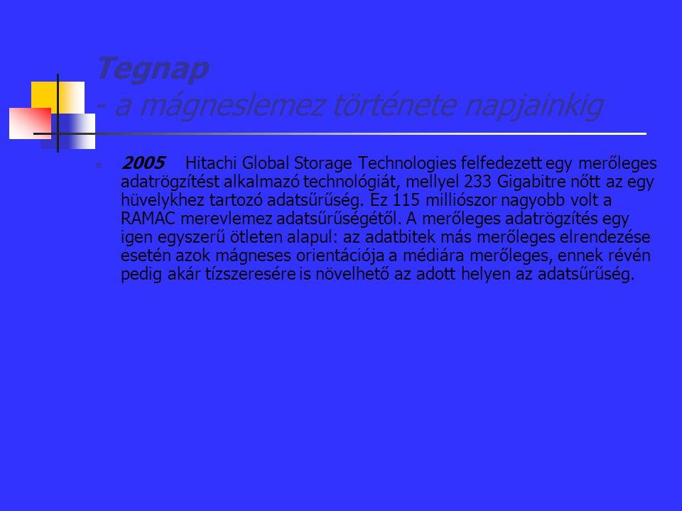 Tegnap - a mágneslemez története napjainkig 2005 Hitachi Global Storage Technologies felfedezett egy merőleges adatrögzítést alkalmazó technológiát, m