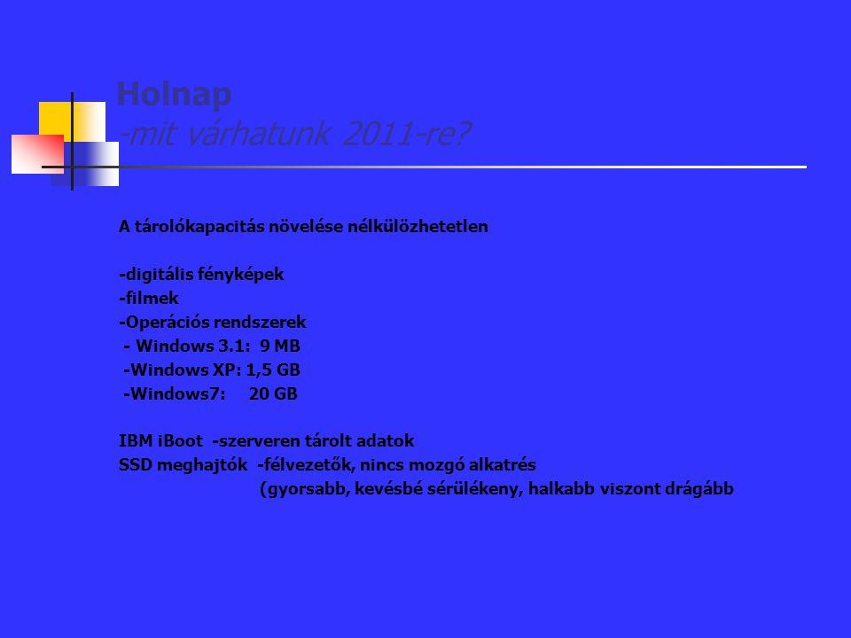 Holnap -mit várhatunk 2011-re? A tárolókapacitás növelése nélkülözhetetlen -digitális fényképek -filmek -Operációs rendszerek - Windows 3.1: 9 MB -Win