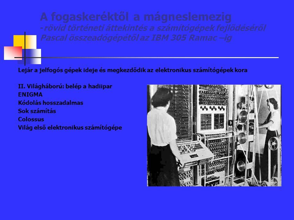 A fogaskeréktől a mágneslemezig -rövid történeti áttekintés a számítógépek fejlődéséről Pascal összeadógépétől az IBM 305 Ramac –ig Lejár a jelfogós g