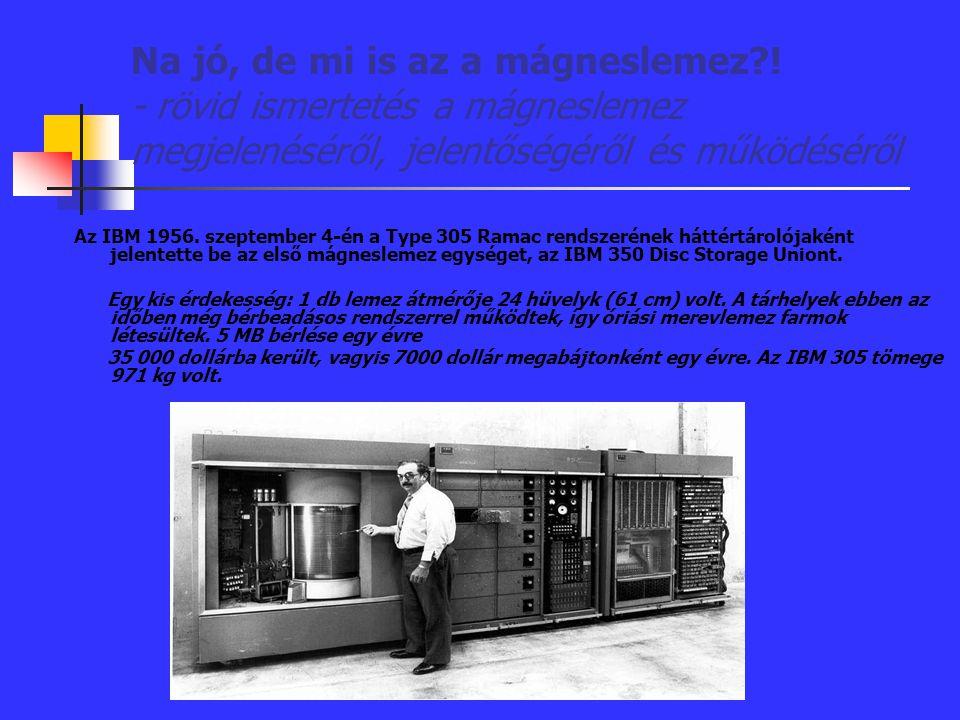 Na jó, de mi is az a mágneslemez?! - rövid ismertetés a mágneslemez megjelenéséről, jelentőségéről és működéséről Az IBM 1956. szeptember 4-én a Type