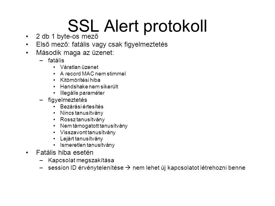 SSL Alert protokoll 2 db 1 byte-os mező Első mező: fatális vagy csak figyelmeztetés Második maga az üzenet: –fatális Váratlan üzenet A record MAC nem stimmel Kitömörítési hiba Handshake nem sikerült Illegális paraméter –figyelmeztetés Bezárási értesítés Nincs tanusítvány Rossz tanusítvány Nem támogatott tanusítvány Visszavont tanusítvány Lejárt tanusítvány Ismeretlen tanusítvány Fatális hiba esetén –Kapcsolat megszakítása –session ID érvénytelenítése  nem lehet új kapcsolatot létrehozni benne