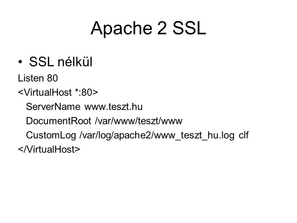 Apache 2 SSL SSL nélkül Listen 80 ServerName www.teszt.hu DocumentRoot /var/www/teszt/www CustomLog /var/log/apache2/www_teszt_hu.log clf