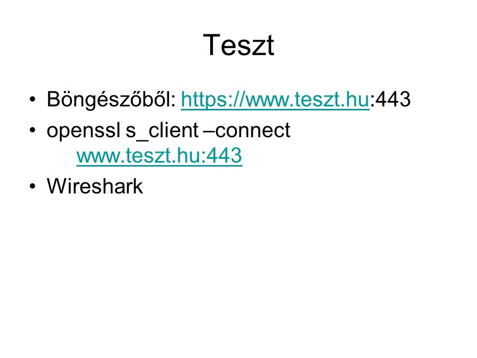 Teszt Böngészőből: https://www.teszt.hu:443https://www.teszt.hu openssl s_client –connect www.teszt.hu:443 www.teszt.hu:443 Wireshark