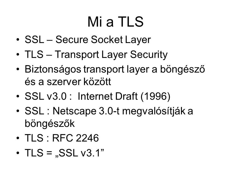 """Mi a TLS SSL – Secure Socket Layer TLS – Transport Layer Security Biztonságos transport layer a böngésző és a szerver között SSL v3.0 : Internet Draft (1996) SSL : Netscape 3.0-t megvalósítják a böngészők TLS : RFC 2246 TLS = """"SSL v3.1"""