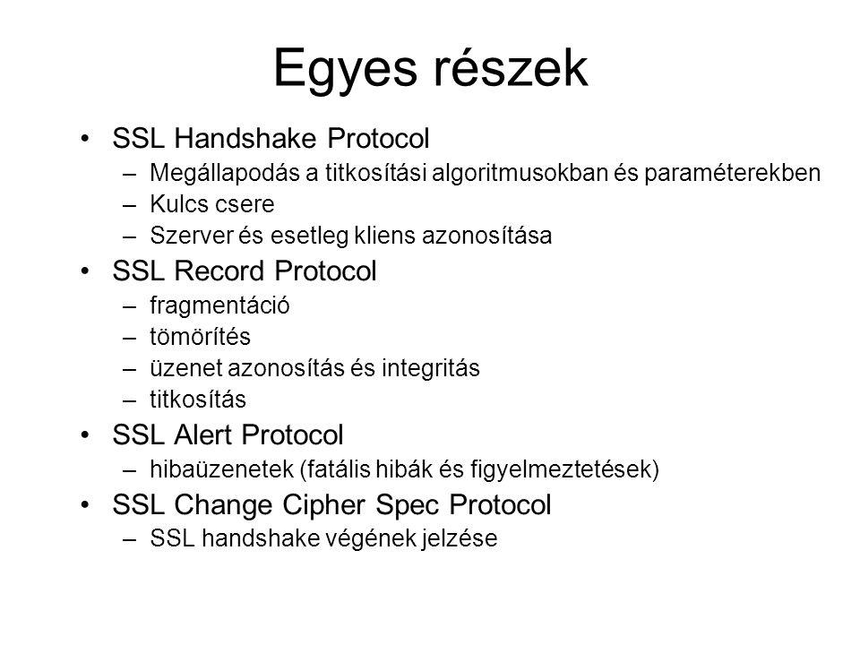 Egyes részek SSL Handshake Protocol –Megállapodás a titkosítási algoritmusokban és paraméterekben –Kulcs csere –Szerver és esetleg kliens azonosítása SSL Record Protocol –fragmentáció –tömörítés –üzenet azonosítás és integritás –titkosítás SSL Alert Protocol –hibaüzenetek (fatális hibák és figyelmeztetések) SSL Change Cipher Spec Protocol –SSL handshake végének jelzése