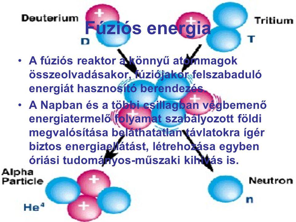 Fúziós energia A fúziós reaktor a könnyű atommagok összeolvadásakor, fúziójakor felszabaduló energiát hasznosító berendezés.