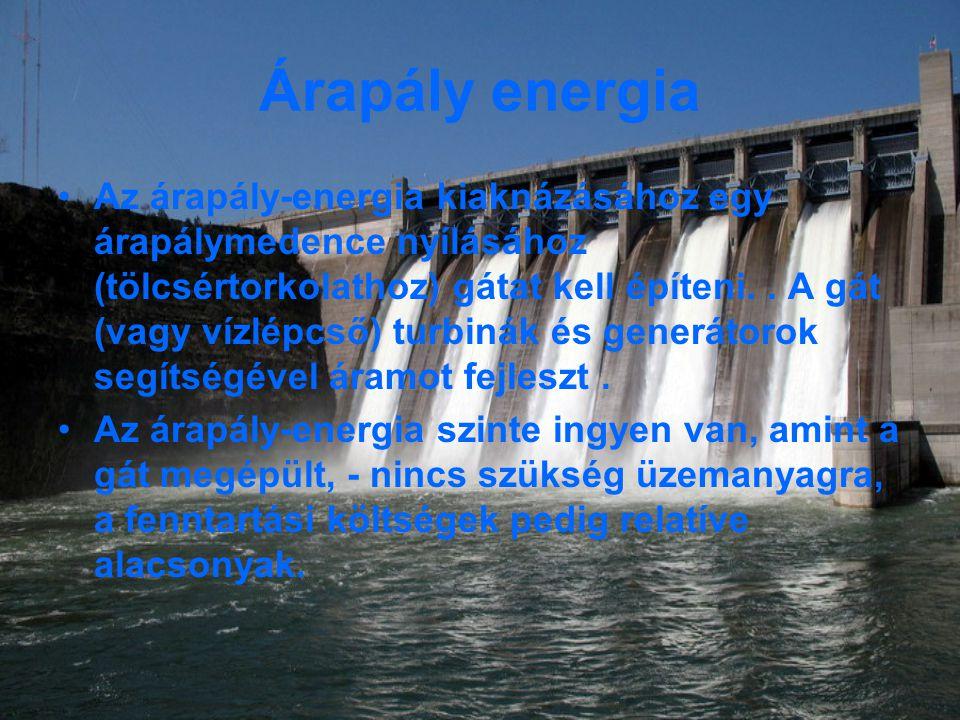 Árapály energia Az árapály-energia kiaknázásához egy árapálymedence nyílásához (tölcsértorkolathoz) gátat kell építeni..