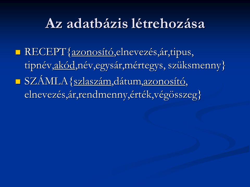 Az adatbázis létrehozása RECEPT{azonosító,elnevezés,ár,tipus, tipnév,akód,név,egysár,mértegys, szüksmenny} RECEPT{azonosító,elnevezés,ár,tipus, tipnév