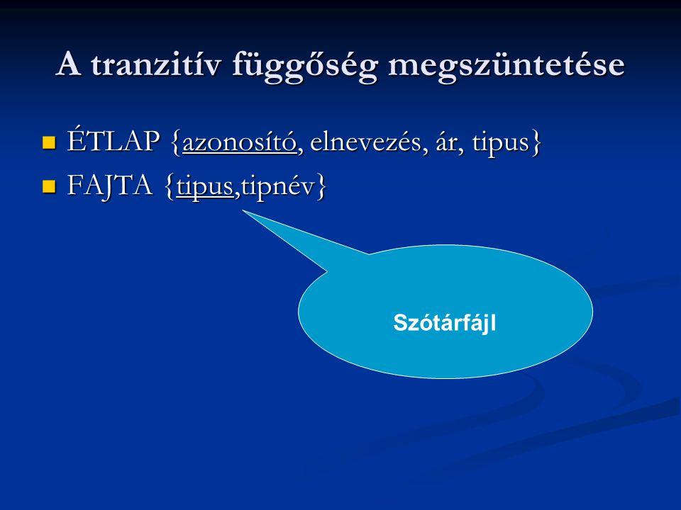 A tranzitív függőség megszüntetése ÉTLAP {azonosító, elnevezés, ár, tipus} ÉTLAP {azonosító, elnevezés, ár, tipus} FAJTA {tipus,tipnév} FAJTA {tipus,t