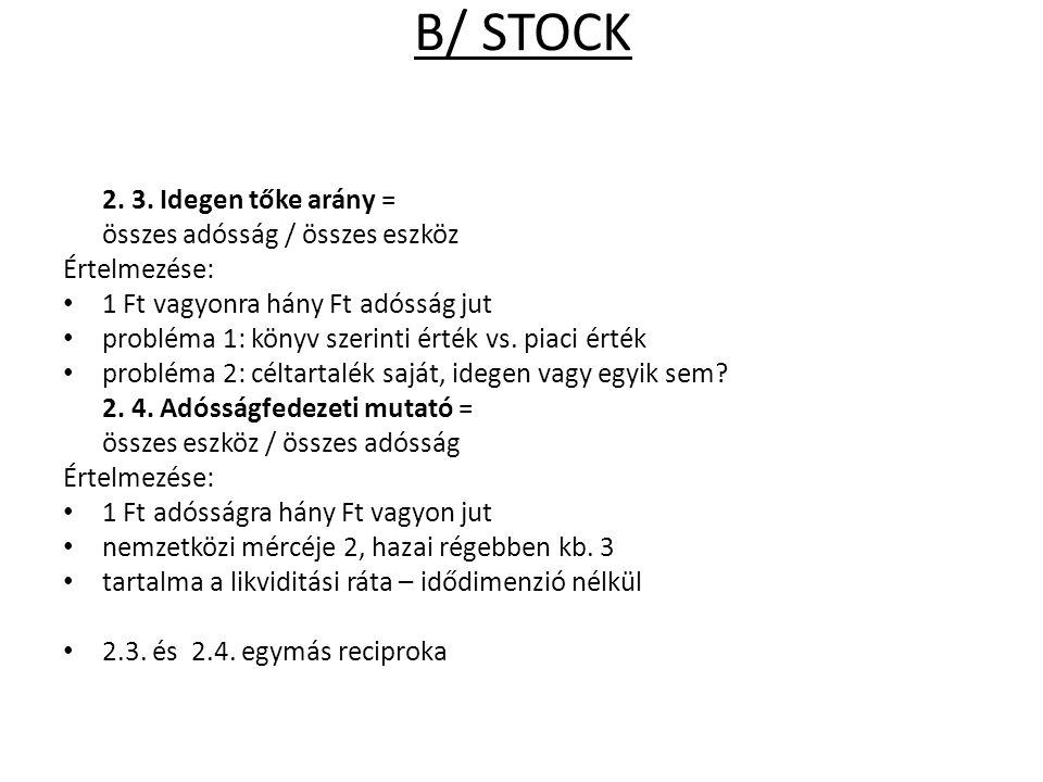 B/ STOCK 2. 3. Idegen tőke arány = összes adósság / összes eszköz Értelmezése: 1 Ft vagyonra hány Ft adósság jut probléma 1: könyv szerinti érték vs.