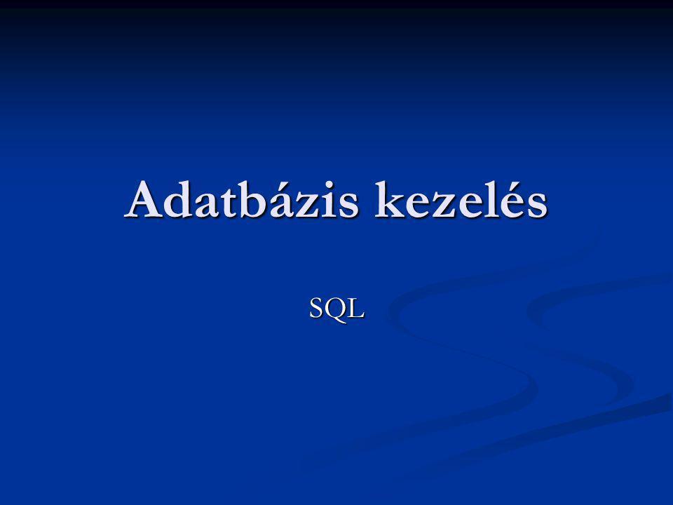 Az adatbázis létrehozása, törlése CREATE DATABASE adatbázisnév; CREATE DATABASE adatbázisnév; Létrejön az adatbázis az aktuális könyvtár adott nevű alkönyvtárában Létrejön az adatbázis az aktuális könyvtár adott nevű alkönyvtárában DROP DATABASE adatbázisnév; DROP DATABASE adatbázisnév; Törli a lezárt adatbázist Törli a lezárt adatbázist
