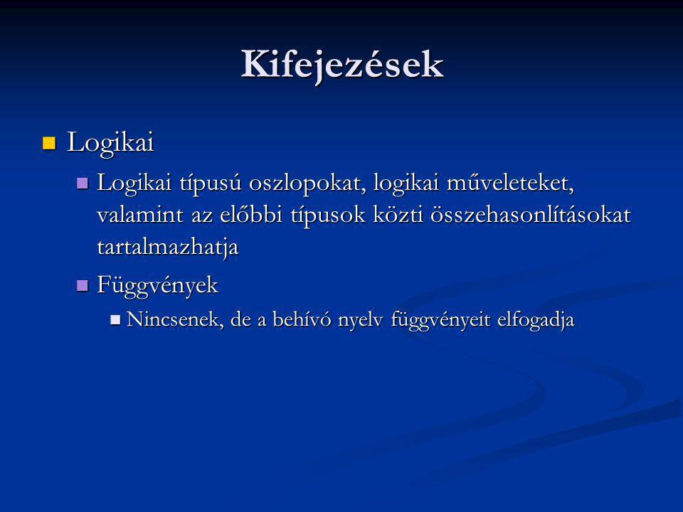 Kifejezések Logikai Logikai Logikai típusú oszlopokat, logikai műveleteket, valamint az előbbi típusok közti összehasonlításokat tartalmazhatja Logikai típusú oszlopokat, logikai műveleteket, valamint az előbbi típusok közti összehasonlításokat tartalmazhatja Függvények Függvények Nincsenek, de a behívó nyelv függvényeit elfogadja Nincsenek, de a behívó nyelv függvényeit elfogadja