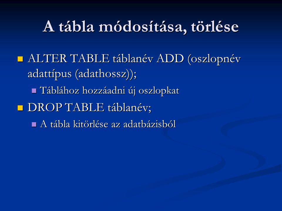 A tábla módosítása, törlése ALTER TABLE táblanév ADD (oszlopnév adattípus (adathossz)); ALTER TABLE táblanév ADD (oszlopnév adattípus (adathossz)); Táblához hozzáadni új oszlopkat Táblához hozzáadni új oszlopkat DROP TABLE táblanév; DROP TABLE táblanév; A tábla kitörlése az adatbázisból A tábla kitörlése az adatbázisból