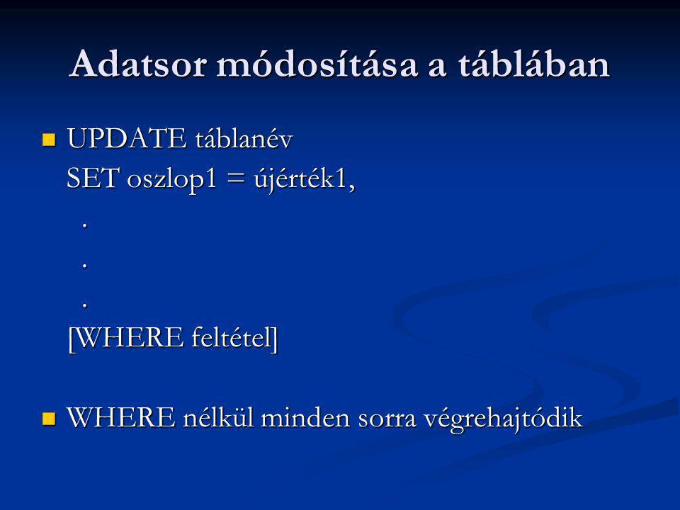 Adatsor módosítása a táblában UPDATE táblanév UPDATE táblanév SET oszlop1 = újérték1,...