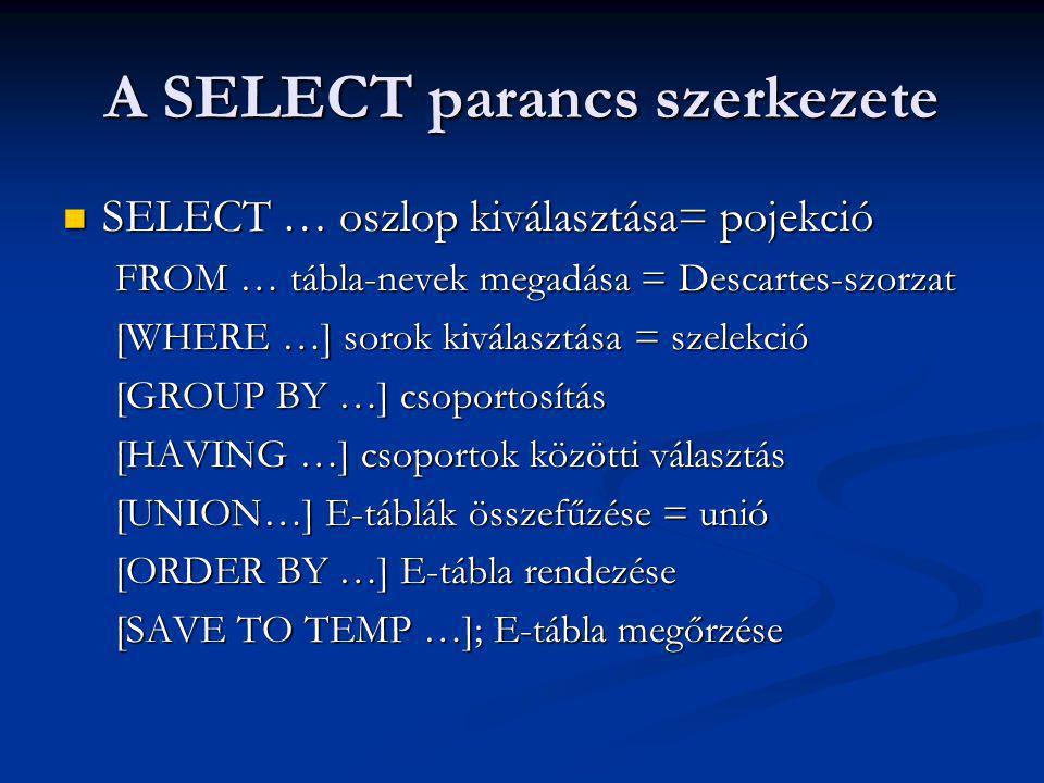 A SELECT parancs szerkezete SELECT … oszlop kiválasztása= pojekció SELECT … oszlop kiválasztása= pojekció FROM … tábla-nevek megadása = Descartes-szorzat [WHERE …] sorok kiválasztása = szelekció [GROUP BY …] csoportosítás [HAVING …] csoportok közötti választás [UNION…] E-táblák összefűzése = unió [ORDER BY …] E-tábla rendezése [SAVE TO TEMP …]; E-tábla megőrzése