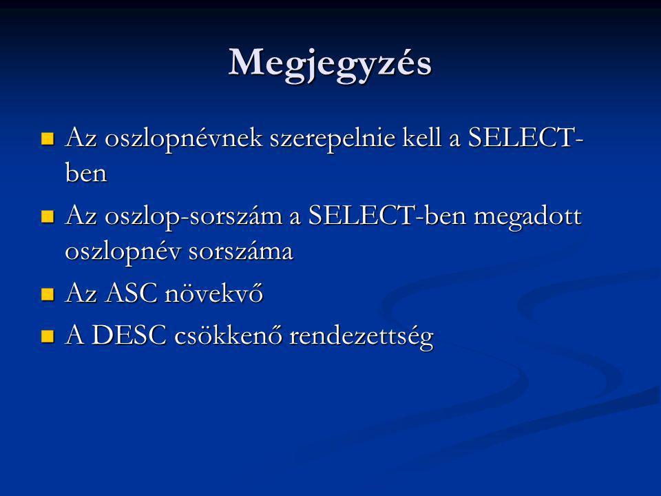 Megjegyzés Az oszlopnévnek szerepelnie kell a SELECT- ben Az oszlopnévnek szerepelnie kell a SELECT- ben Az oszlop-sorszám a SELECT-ben megadott oszlopnév sorszáma Az oszlop-sorszám a SELECT-ben megadott oszlopnév sorszáma Az ASC növekvő Az ASC növekvő A DESC csökkenő rendezettség A DESC csökkenő rendezettség