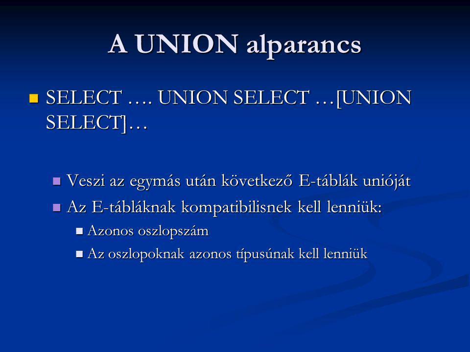 A UNION alparancs SELECT …. UNION SELECT …[UNION SELECT]… SELECT ….