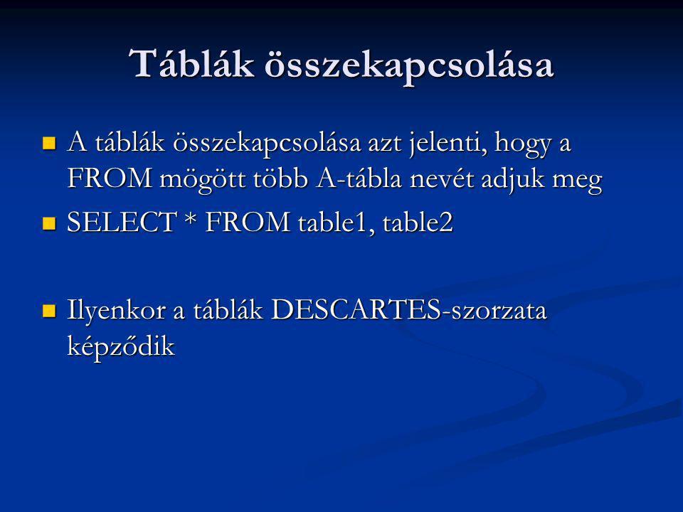 Táblák összekapcsolása A táblák összekapcsolása azt jelenti, hogy a FROM mögött több A-tábla nevét adjuk meg A táblák összekapcsolása azt jelenti, hogy a FROM mögött több A-tábla nevét adjuk meg SELECT * FROM table1, table2 SELECT * FROM table1, table2 Ilyenkor a táblák DESCARTES-szorzata képződik Ilyenkor a táblák DESCARTES-szorzata képződik