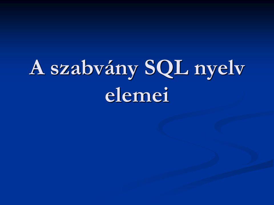 Alapelemek Az SQL táblákat (relációkat kezel) Az SQL táblákat (relációkat kezel) Elnevezésük: TABLE Elnevezésük: TABLE A tábla azonosítója (neve) betűvel kezdődik (max 8 karakter) A tábla azonosítója (neve) betűvel kezdődik (max 8 karakter) A tábla attributumait oszlopoknak nevezzük, melyek típusát a tábla definiálásakor adjuk meg A tábla attributumait oszlopoknak nevezzük, melyek típusát a tábla definiálásakor adjuk meg Oszlopazonosító: max 10 karakter Oszlopazonosító: max 10 karakter A táblák névvel ellátott együttese az adatbázis A táblák névvel ellátott együttese az adatbázis Neve: DATABASE Neve: DATABASE