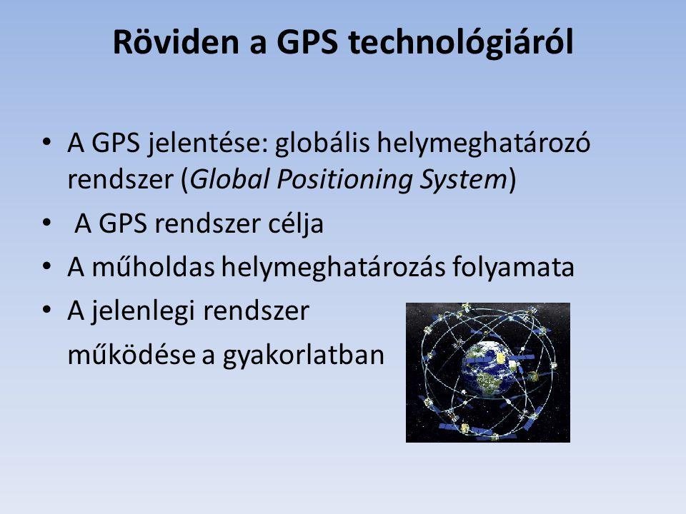 Röviden a GPS technológiáról A GPS jelentése: globális helymeghatározó rendszer (Global Positioning System) A GPS rendszer célja A műholdas helymeghat
