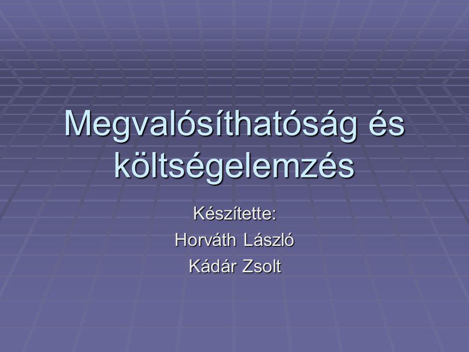 Megvalósíthatóság és költségelemzés Készítette: Horváth László Kádár Zsolt