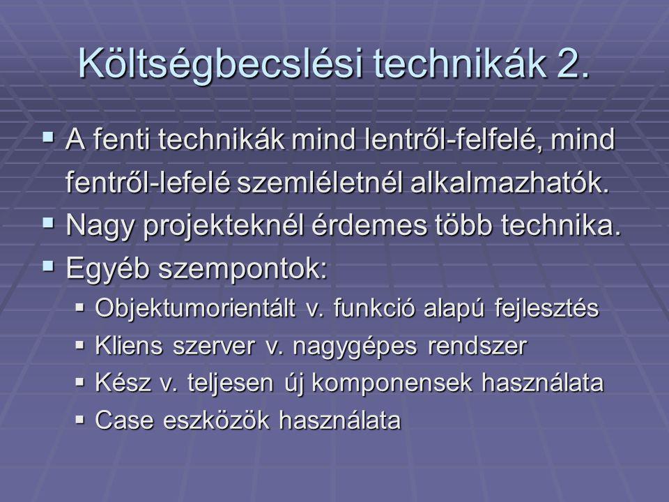 Költségbecslési technikák 2.
