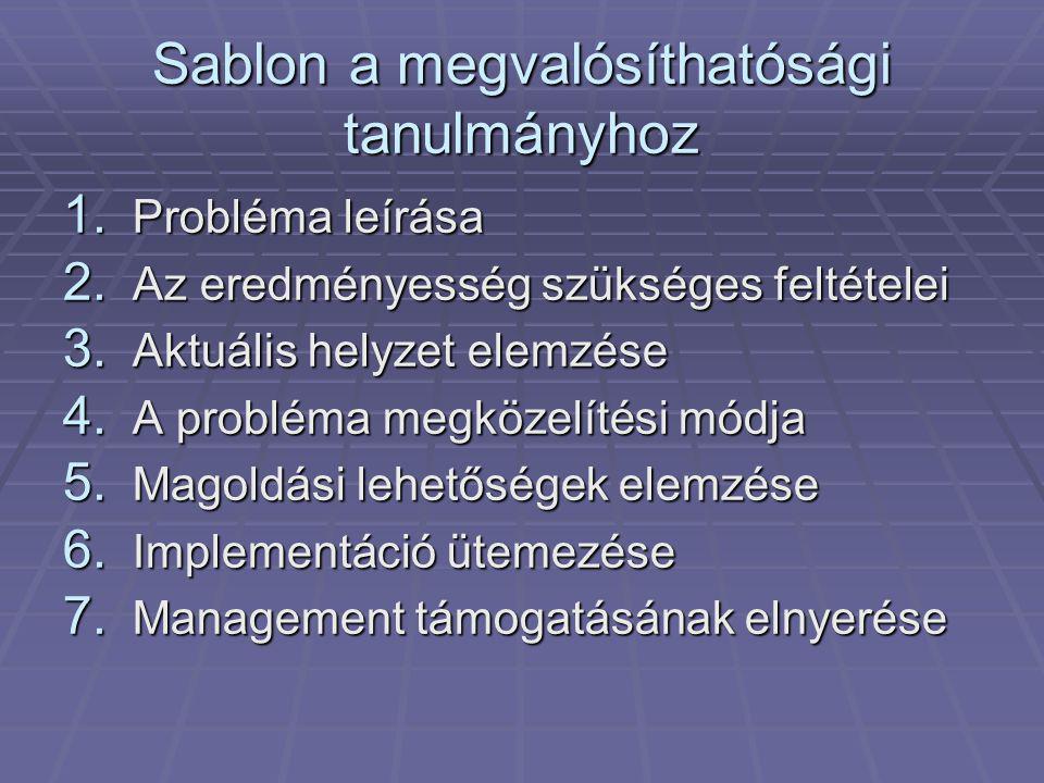 Sablon a megvalósíthatósági tanulmányhoz 1. Probléma leírása 2.
