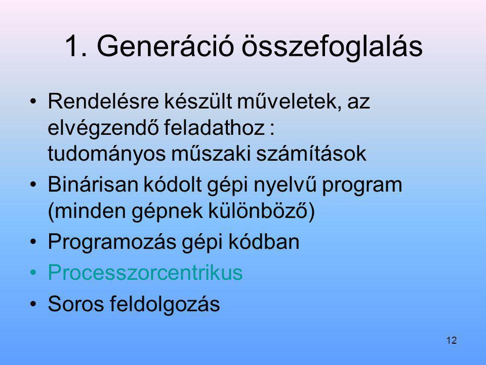 12 1. Generáció összefoglalás Rendelésre készült műveletek, az elvégzendő feladathoz : tudományos műszaki számítások Binárisan kódolt gépi nyelvű prog