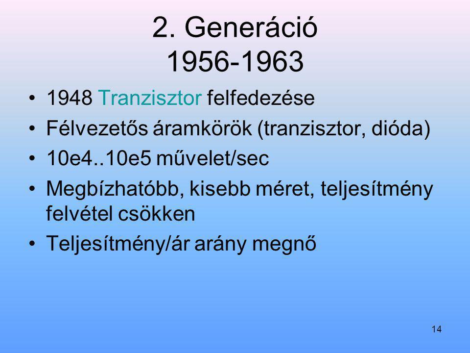 14 2. Generáció 1956-1963 1948 Tranzisztor felfedezése Félvezetős áramkörök (tranzisztor, dióda) 10e4..10e5 művelet/sec Megbízhatóbb, kisebb méret, te
