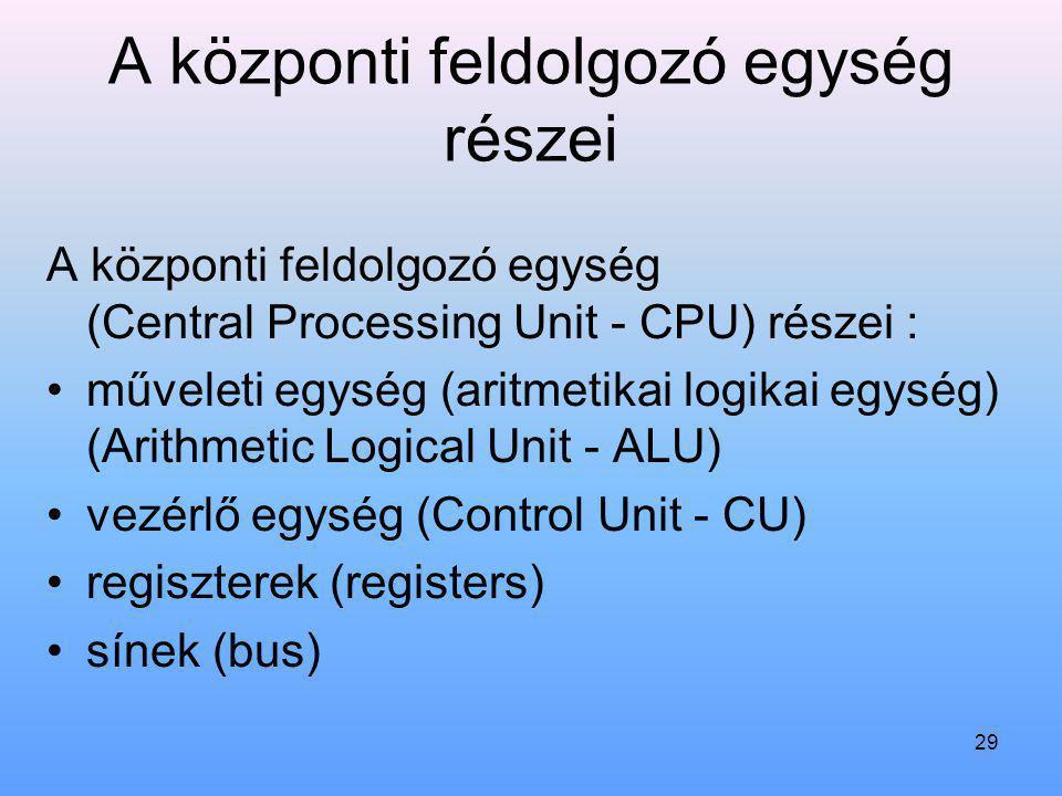 29 A központi feldolgozó egység részei A központi feldolgozó egység (Central Processing Unit - CPU) részei : műveleti egység (aritmetikai logikai egys