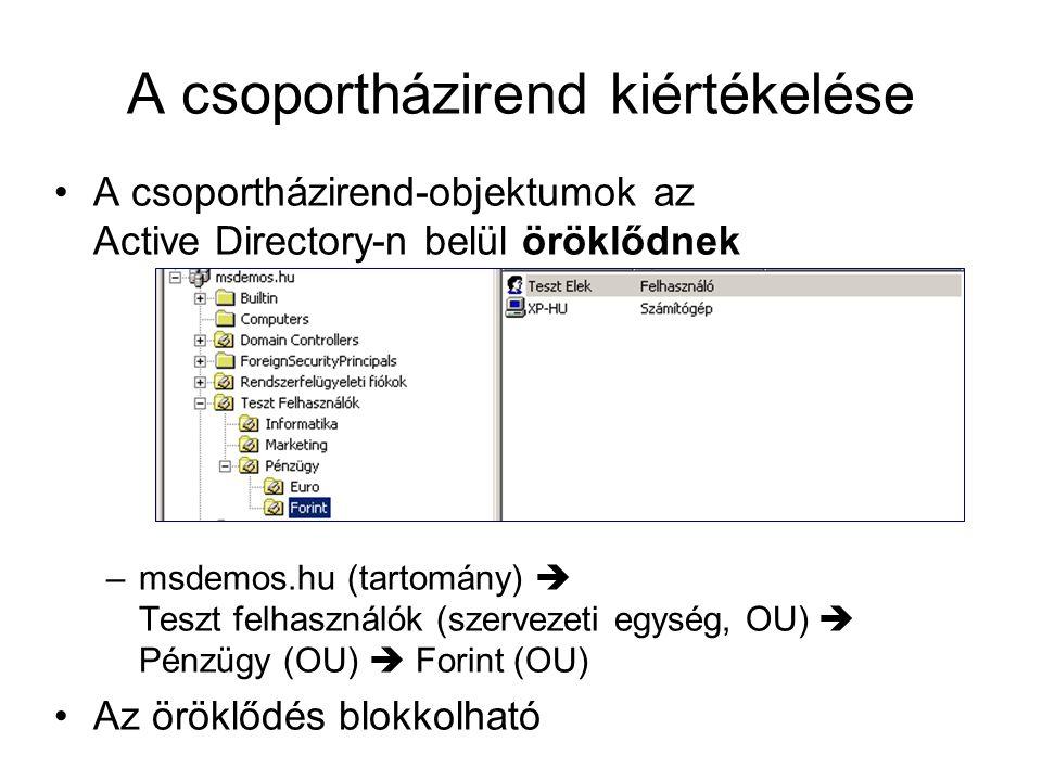 A csoportházirend kiértékelése A csoportházirend-objektumok az Active Directory-n belül öröklődnek –msdemos.hu (tartomány)  Teszt felhasználók (szervezeti egység, OU)  Pénzügy (OU)  Forint (OU) Az öröklődés blokkolható