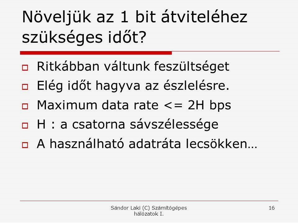 Sándor Laki (C) Számítógépes hálózatok I.16 Növeljük az 1 bit átviteléhez szükséges időt.
