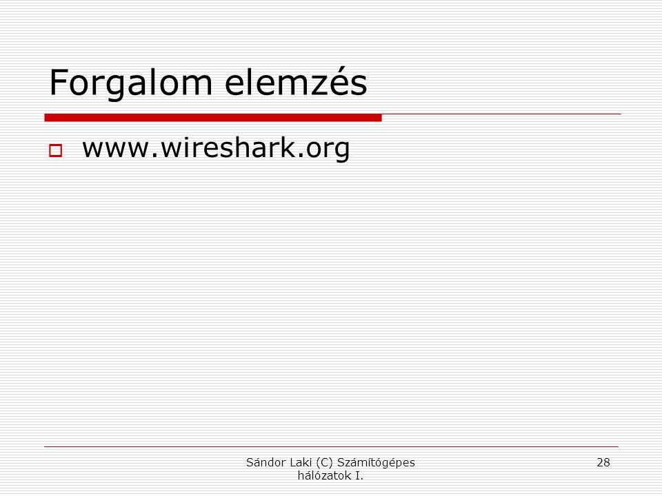 Sándor Laki (C) Számítógépes hálózatok I. 28 Forgalom elemzés  www.wireshark.org