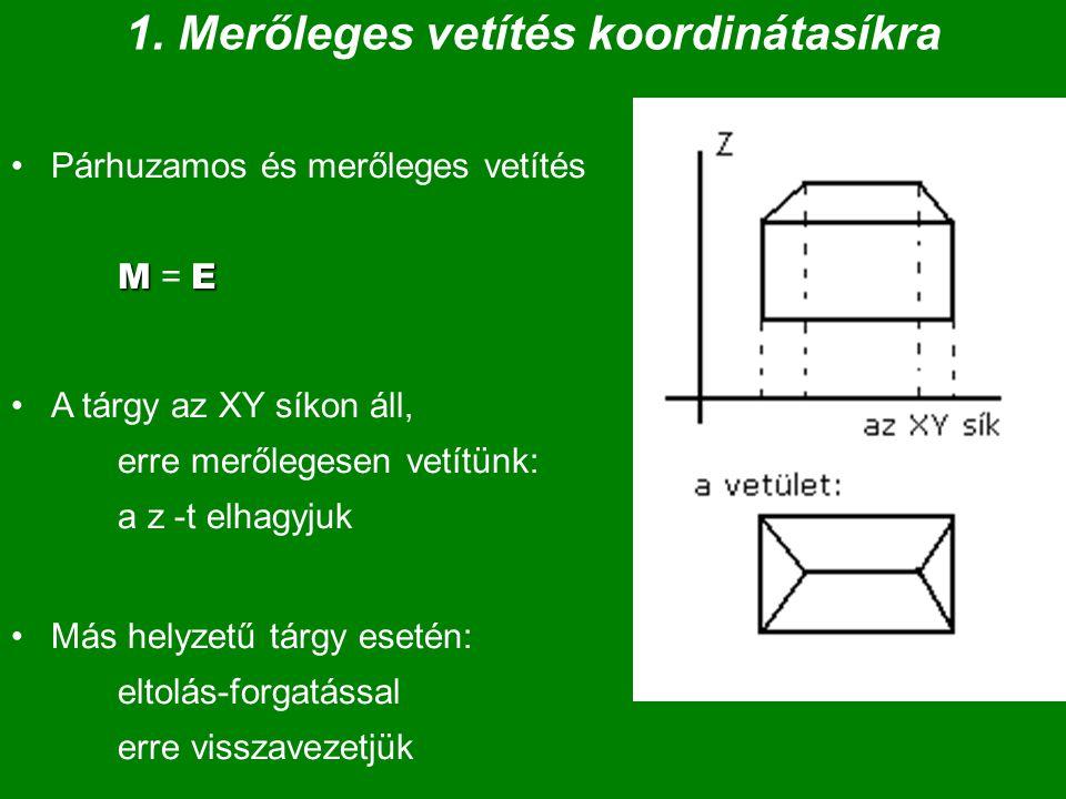 1. Merőleges vetítés koordinátasíkra MEPárhuzamos és merőleges vetítés M = E A tárgy az XY síkon áll, erre merőlegesen vetítünk: a z -t elhagyjuk Más