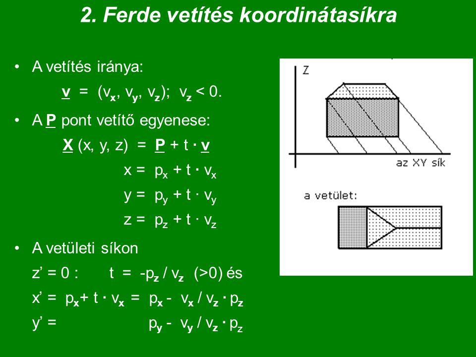 2.Ferde vetítés koordinátasíkra A vetítés iránya: v = (v x, v y, v z ); v z < 0.
