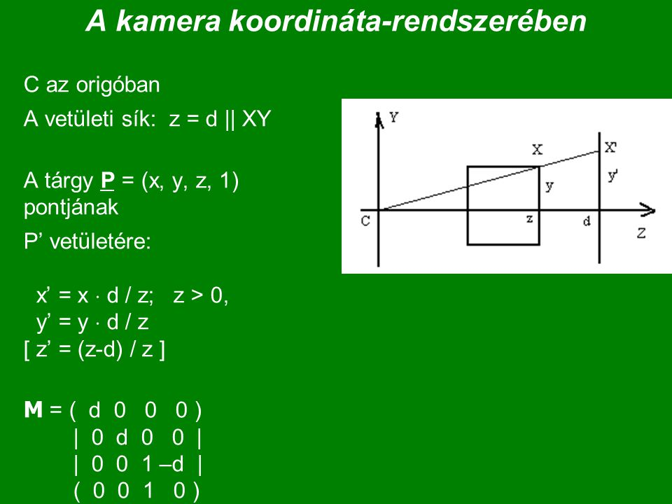 A kamera koordináta-rendszerében C az origóban A vetületi sík: z = d || XY A tárgy P = (x, y, z, 1) pontjának P' vetületére: x' = x  d / z; z > 0, y' = y  d / z [ z' = (z-d) / z ] M = ( d 0 0 0 ) | 0 d 0 0 | | 0 0 1 –d | ( 0 0 1 0 )