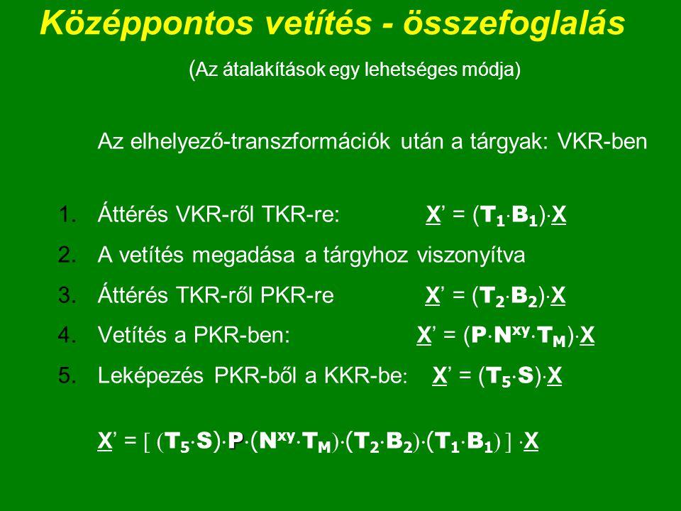 Középpontos vetítés - összefoglalás ( Az átalakítások egy lehetséges módja) Az elhelyező-transzformációk után a tárgyak: VKR-ben 1.Áttérés VKR-ről TKR-re: X' = ( T 1  B 1 )  X 2.A vetítés megadása a tárgyhoz viszonyítva 3.Áttérés TKR-ről PKR-re X' = ( T 2  B 2 )  X 4.Vetítés a PKR-ben: X' = ( P  N xy  T M )  X P 5.Leképezés PKR-ből a KKR-be : X' = ( T 5  S )  X X' = [ ( T 5  S )  P  ( N xy  T M )  ( T 2  B 2 )  ( T 1  B 1 ) ]  X