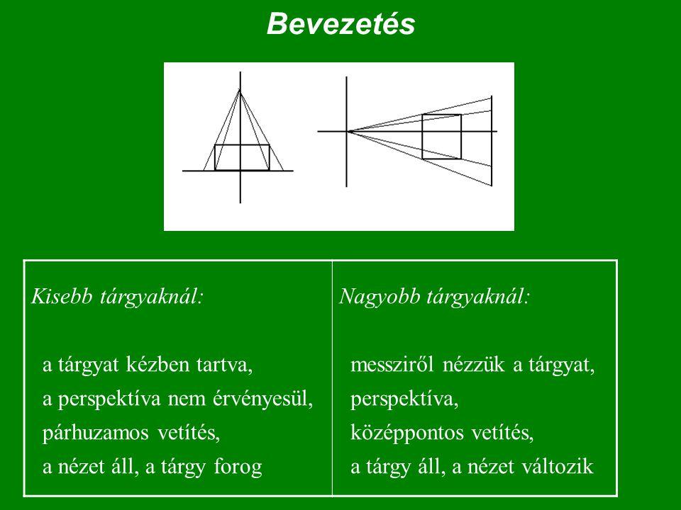 Bevezetés Kisebb tárgyaknál: a tárgyat kézben tartva, a perspektíva nem érvényesül, párhuzamos vetítés, a nézet áll, a tárgy forog Nagyobb tárgyaknál: messziről nézzük a tárgyat, perspektíva, középpontos vetítés, a tárgy áll, a nézet változik
